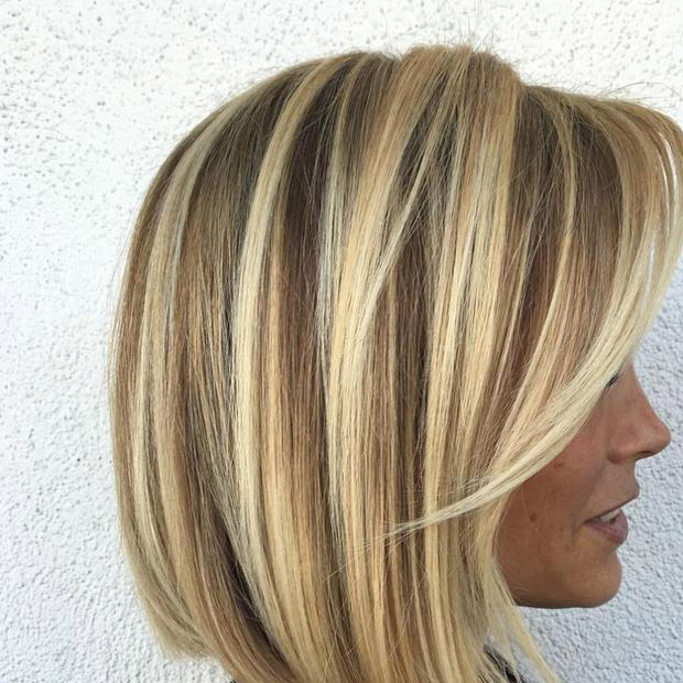 Bob Hairstyle with Blonde Highlighted Color