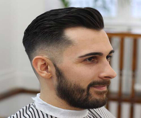Fade with Brush Back and Beard