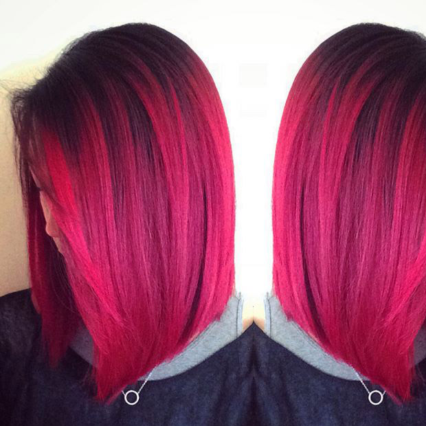 Pinky Red Bob Hair Color