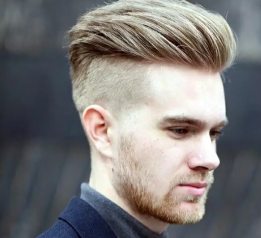 medium pompadour with shaved side