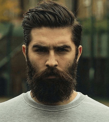 Big Comb Over Fade + Long Beard + Part