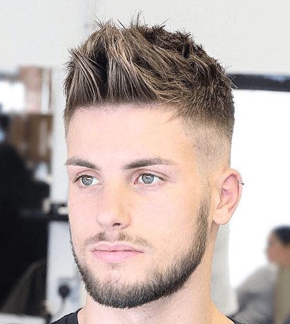 Slick Comb Over Fade + Spiky Fringe + Hard Part